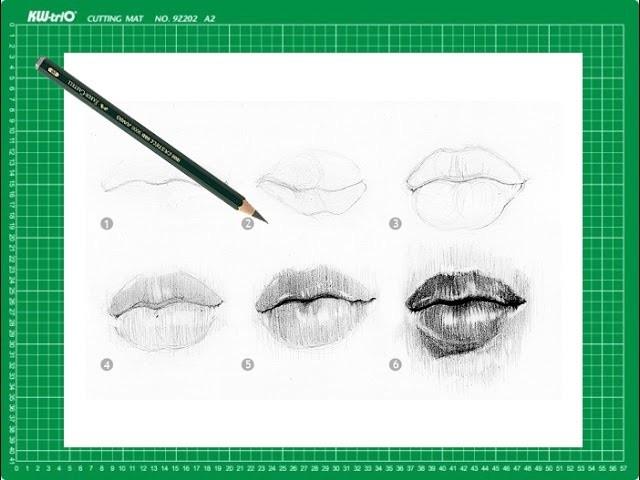"""CURSO de dibujo a lápiz Cap. 8 """"Los labios de frente"""""""