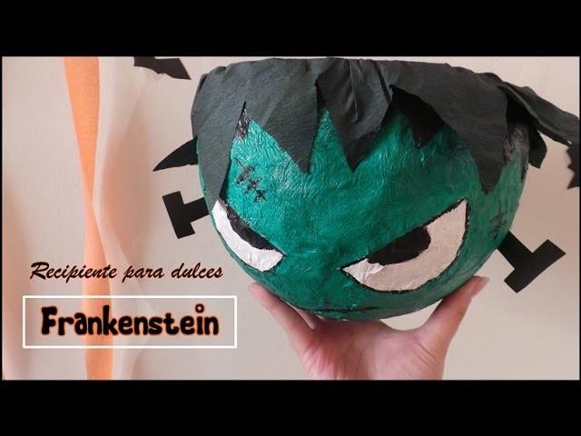 DIY. Recipiente para dulces Frankenstein. HALLOWEEN !!
