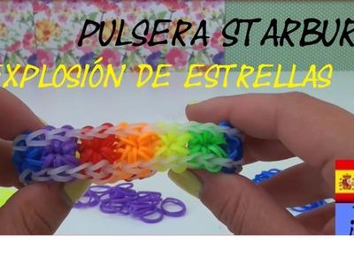 PULSERA DE GOMITA EXPLOSIÓN DE ESTRELLAS - STARBURST - SIN TELAR - TUTORIAL EN ESPAÑOL - DIY