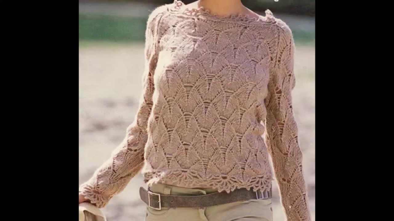 Suéter tejido a 2 agujas con puntilla a crochet