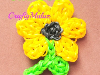 Tutorial:♥ Girasol de gomitas (con telar) Rainbow Loom: SUNFLOWER Charm