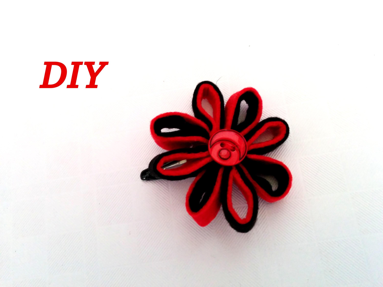 Como hacer una FLOR DE FIELTRO  para horquilla. DIY, Flower felt.