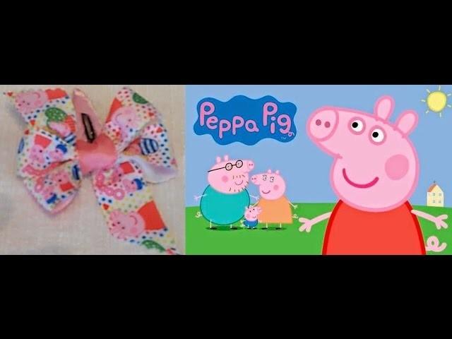 COMO HACER UN LAZO MOÑO DE PEPPA PIG | TUTORIAL-MANUALIDADES MANOLIDADES  manualidades faciles