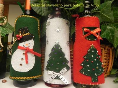 Manualidades de Navidad :Delantal Navideño para Botella de Vino