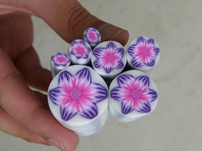 Murrina flor fucsia y violeta en arcilla polimérica - Polymer clay fuchsia cane