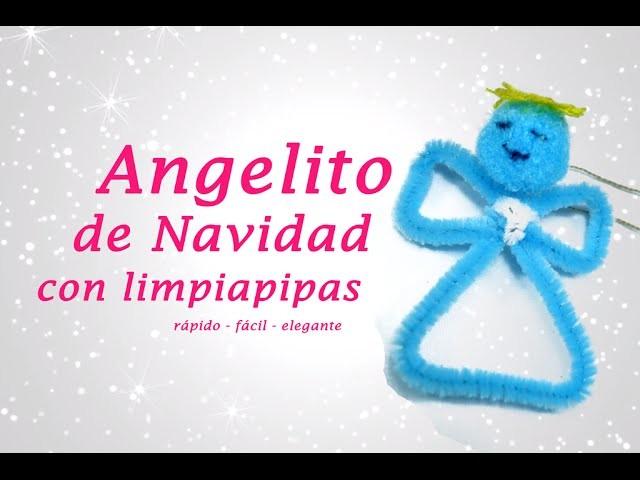 ANGELITO DE NAVIDAD CON LIMPIAPIPAS (chenillas) » Manualidades Navideñas