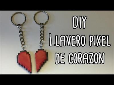 DIY: Llaveros pixel para pareja ♥ Pixel heart couple keychain