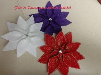 Manualidades para Navidad: Flor de pascua para decorar el arbol de Navidad