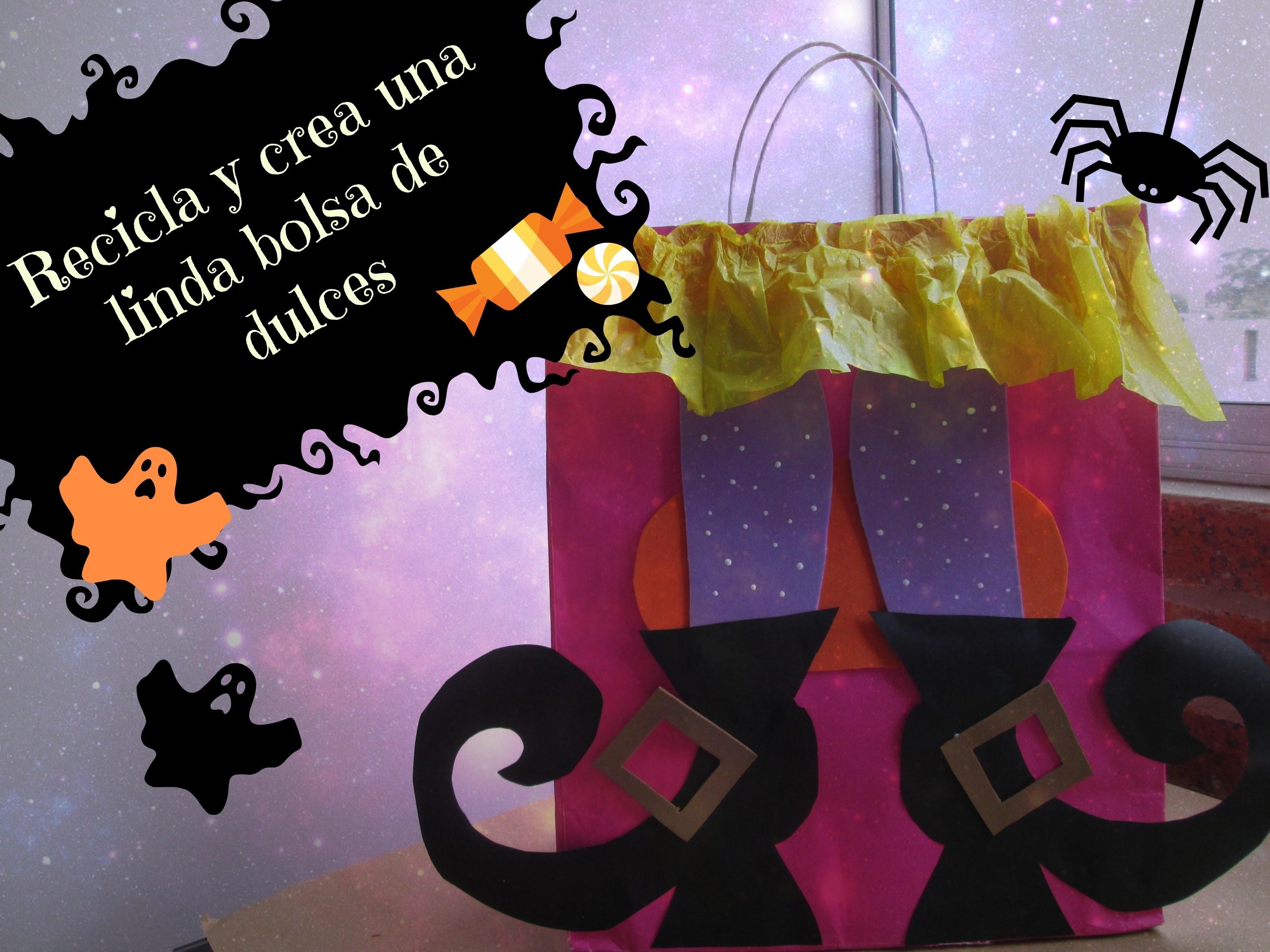Recicla y crea una bolsa para dulces.Manualidades faciles para halloween