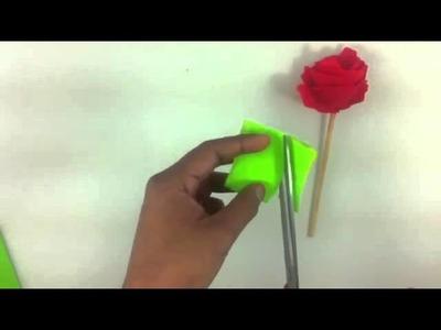 Hacer una rosa de papel - Manualidades con cartulina