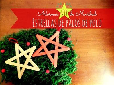 Manualidades: Adorno DIY de Navidad, estrellas con palos de polo