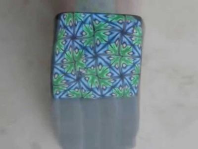 Murrina caleidoscopio verde y azul en arcilla polimérica - Blue and green polymer clay kaleidoscope