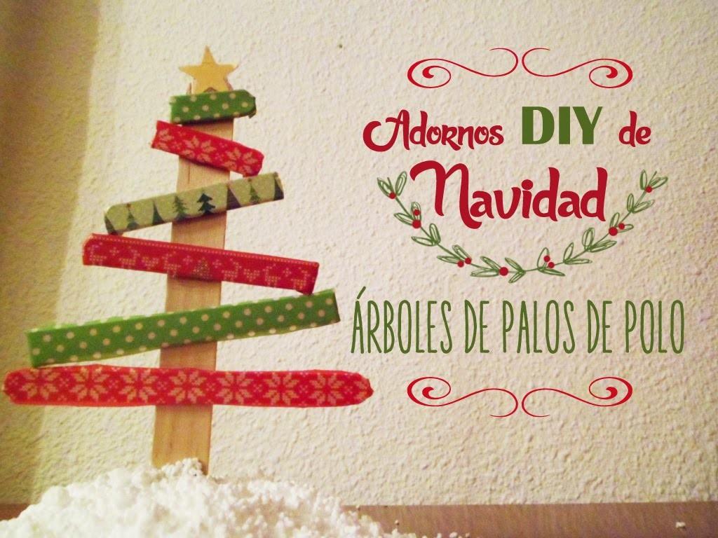Manualidades:Adornos DIY de Navidad, árboles con palos de polo