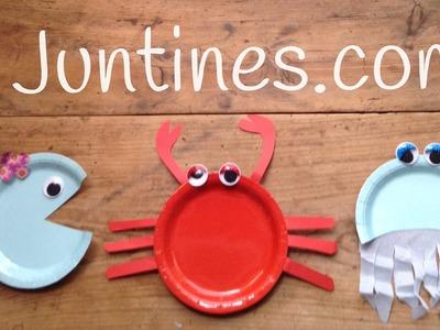 Manualidades de animales, cangrejo con plato de papel