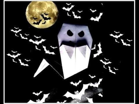 Origami- fantasma para halloween- manualidades de papel- how to make origami an ghost