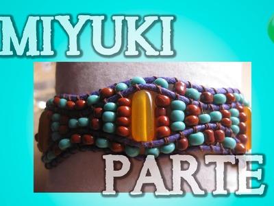 Brazalete de cuero morado doble Parte 2 | Miyuki