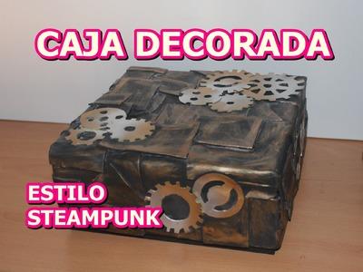 COMO DECORAR CAJA  DE CARTON CON GOMA EVA  ESTILO STEAMPUNK
