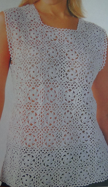 Como hacer Blusa a crochet motivos punto de piña