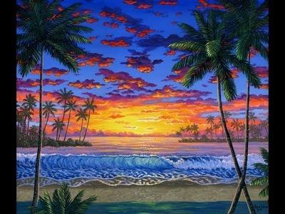 Como Pintar Atardecer Leccion 1 de pintura playa mar con acrilico sobre tela
