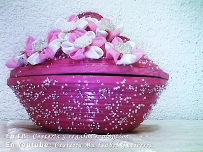 CUENCO O CESTO MULTIUSOS CON FLORES. Basket Weaving