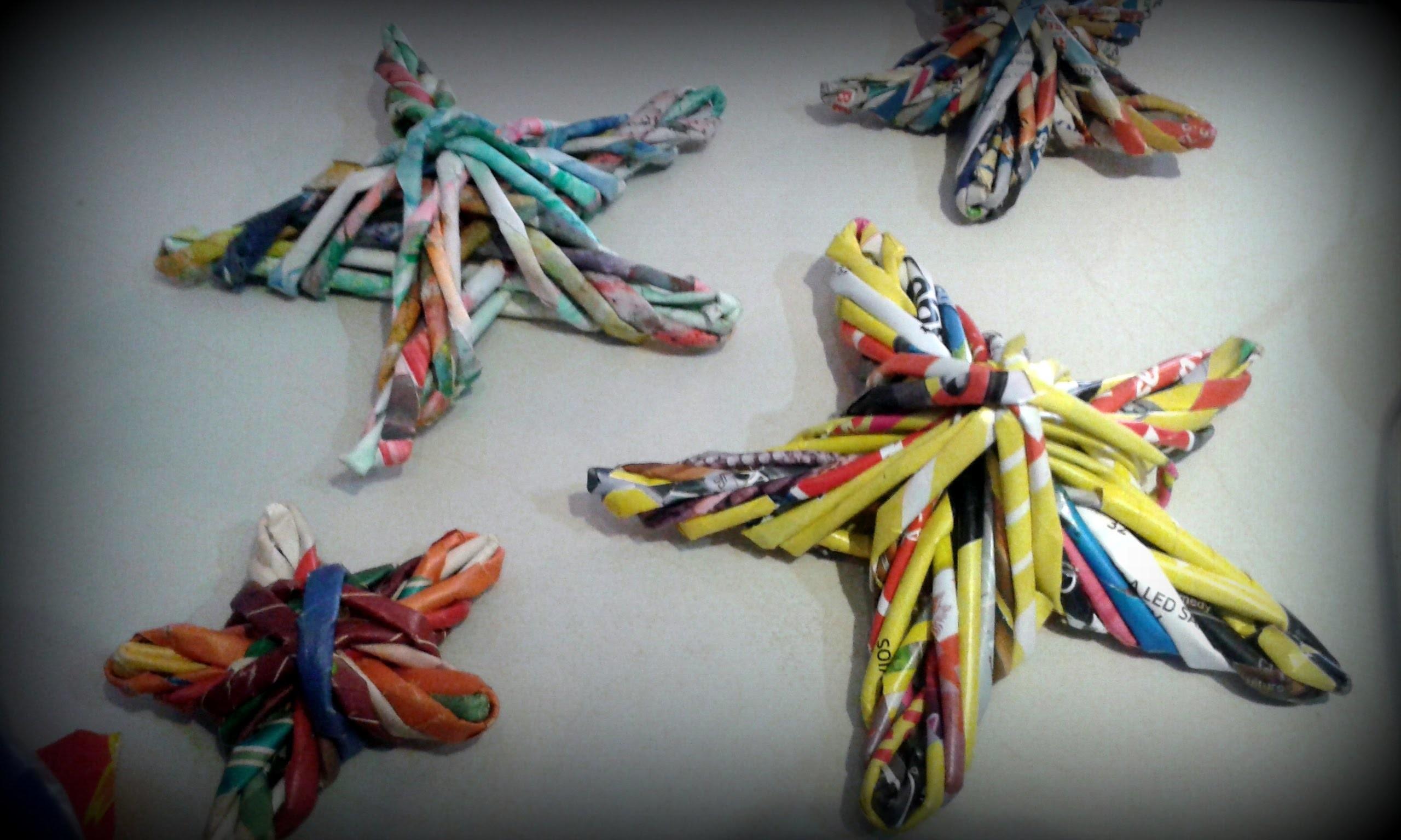 Decoracion facil rapido economico reutilizando papel para navidad estrella navideña de belem paso a