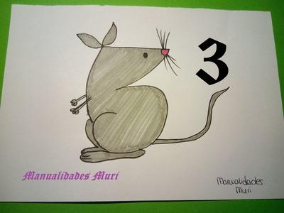 Manualidades. Aprende a dibujar con números: Ratón con el 3