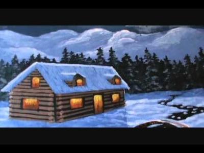 Pintar un paisaje de nieve 3 lección de pintura casa de montaña acrilico sobre tela