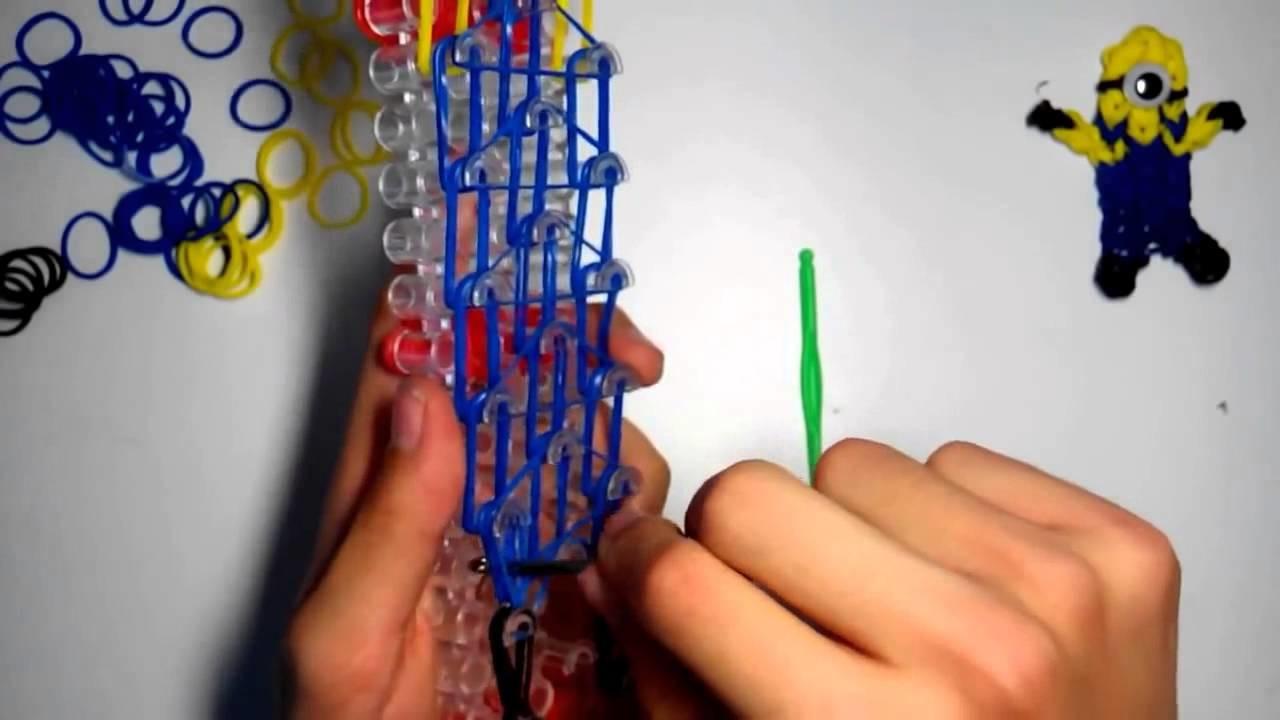 Cómo hacer minion de gomitas con telar rainbow loom  Rainbow loom charms minion with loom bands  HD