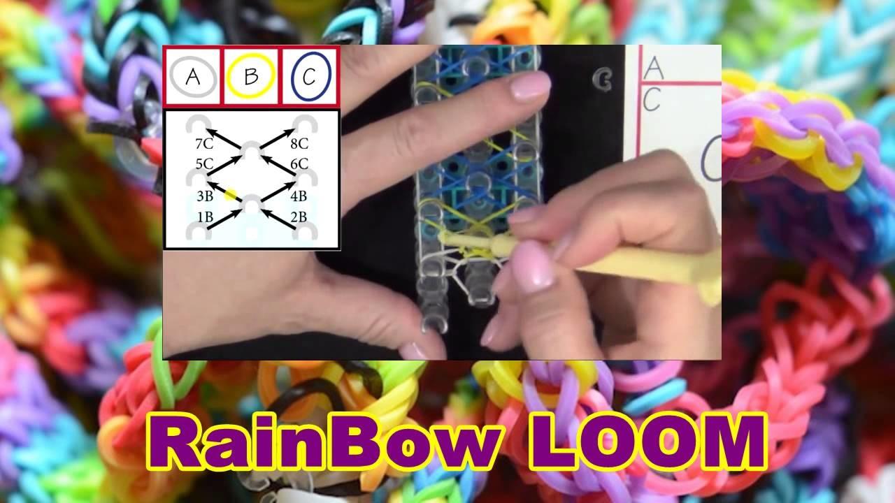 DIY Rainbow Loom® Team Spirit Bracelet Lección 53