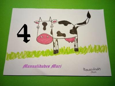 Manualidades. Aprende a dibujar con números: Vaca con el 4