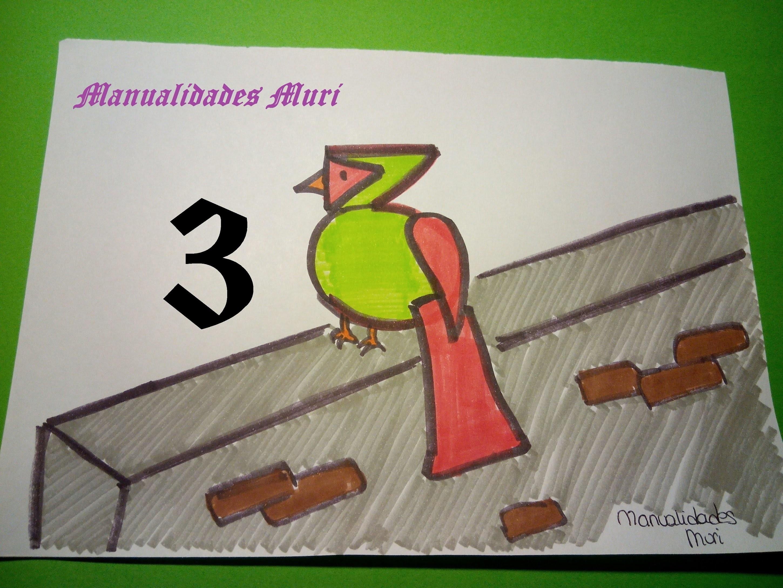 Manualidades. Aprende a dibujar con números: Pájaro con el 3