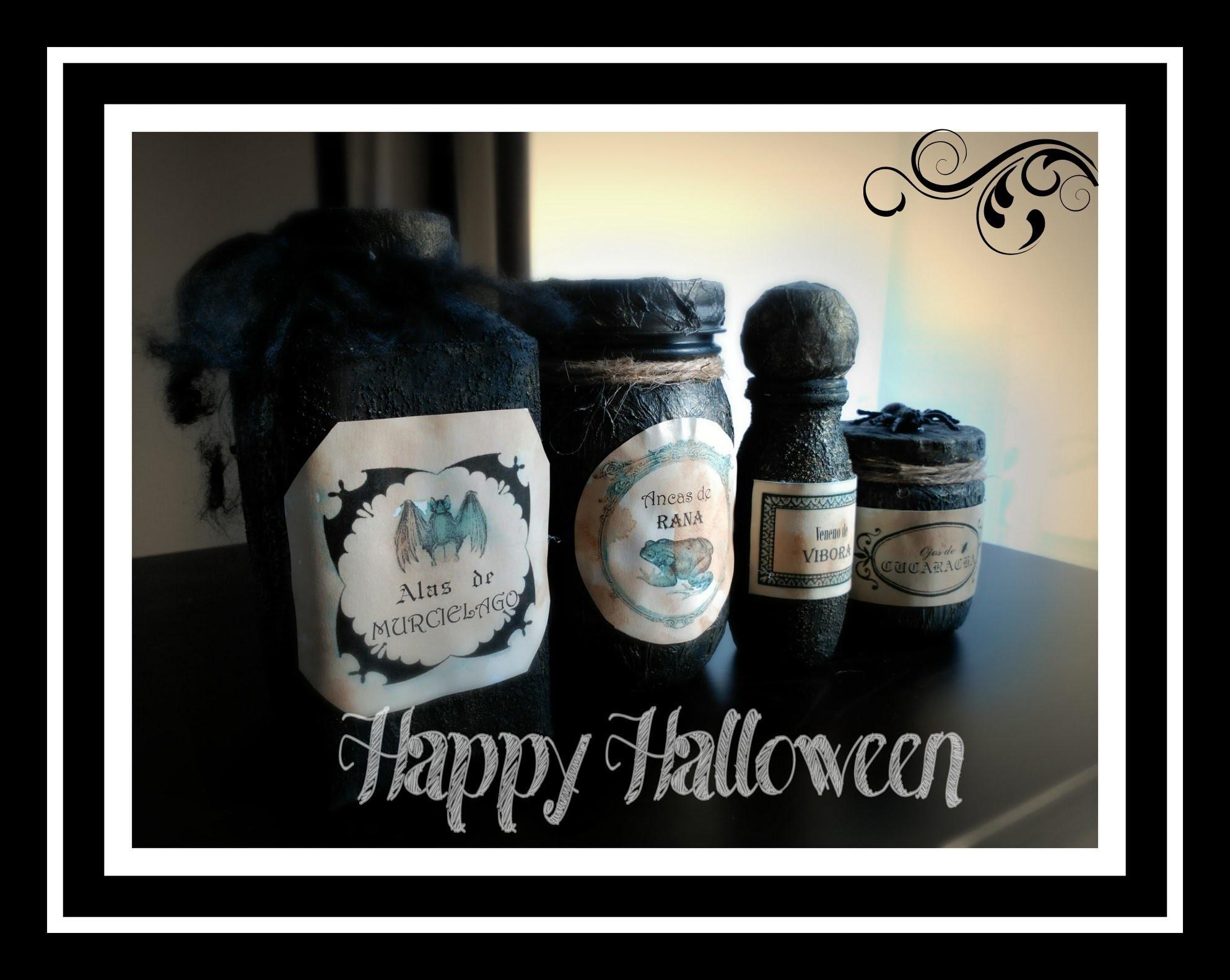 Manualidades Halloween. Decoración. Tarros de pociones. Potion Jars
