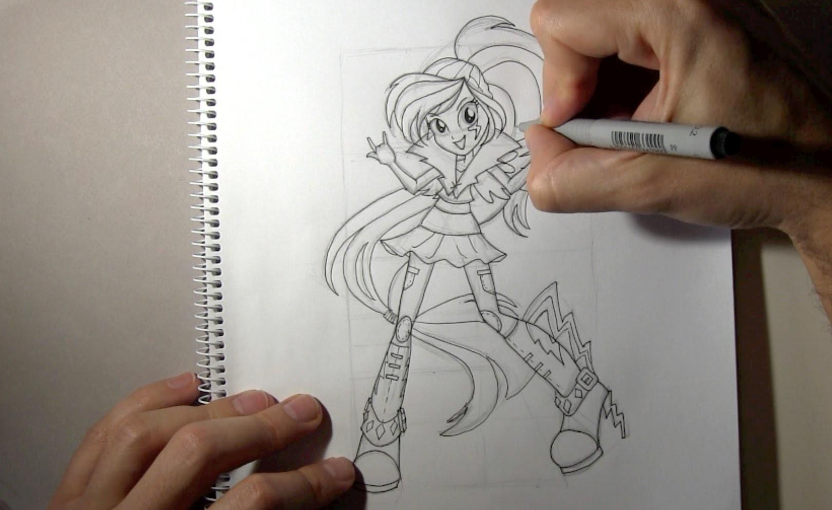 Cómo dibujar a Rainbow Dash Equestria Girls Rainbow Rocks