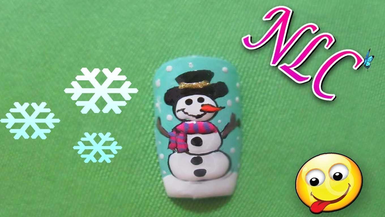 Decoración De Uñas Muñeco De Nieve - Navidad Nail Art - Christmas Nail Art - Snowman Nail Art - NLC