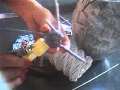 Florero de papel tejido en diagonal 1