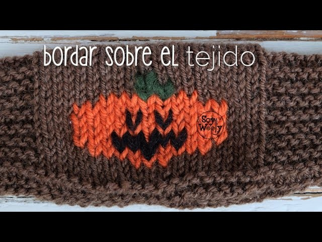 Bordar sobre el tejido en dos agujas: falso jacquard -Halloween