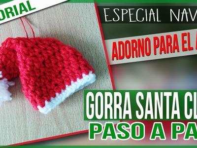 Especial Navidad- Adorno Navideño Tejido a Crochet - Gorra Santa Claus