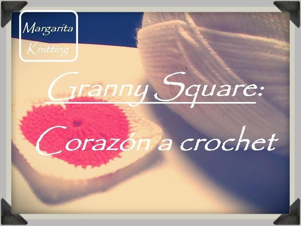Granny Square: motivo corazón crochet (zurdo)