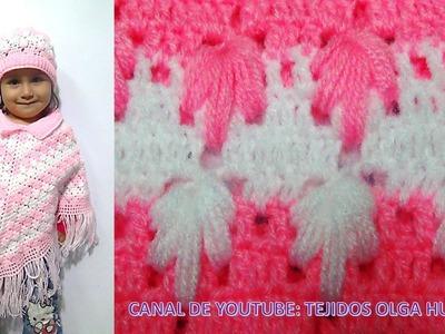 Poncho para todas las edades en punto arbolitos tejido a crochet paso a paso
