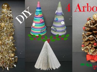 DIY - 4 Arboles Navideños - Ideas Fáciles - Adornos de Navidad