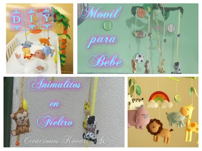 Movil de animalitos Jungla en fieltro DIY.How to Make the Jungle Animals Crib Mobile