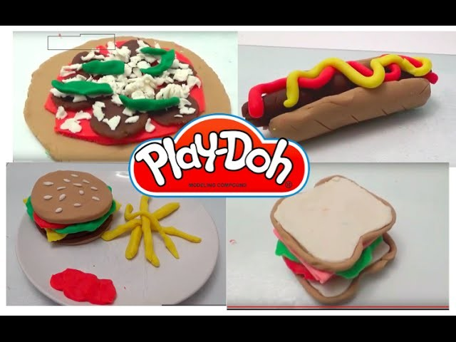 Play doh Burger cheeseburger and fries, pizza, hot-dog and sandwich. DIY play dough restaurant