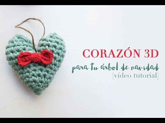 Heart, Corazón 3D de ganchillo, Crochet 3D heart, Corazón 3D de ...
