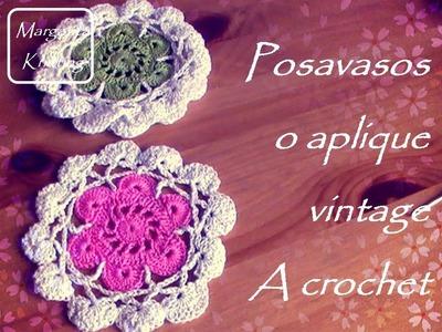 Posavasos o aplique vintage a crochet (diestro)