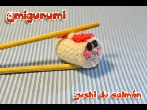 Amigurumi sushi de salmón