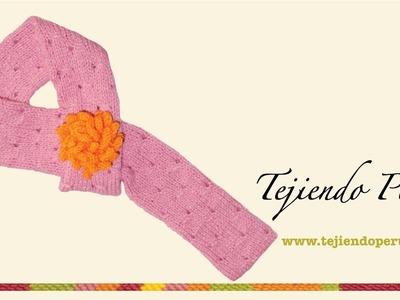 Bufanda tubular  pasada para niñas tejida en dos agujas o palillos