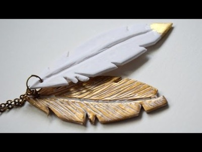 Colgante plumas en arcilla polimérica