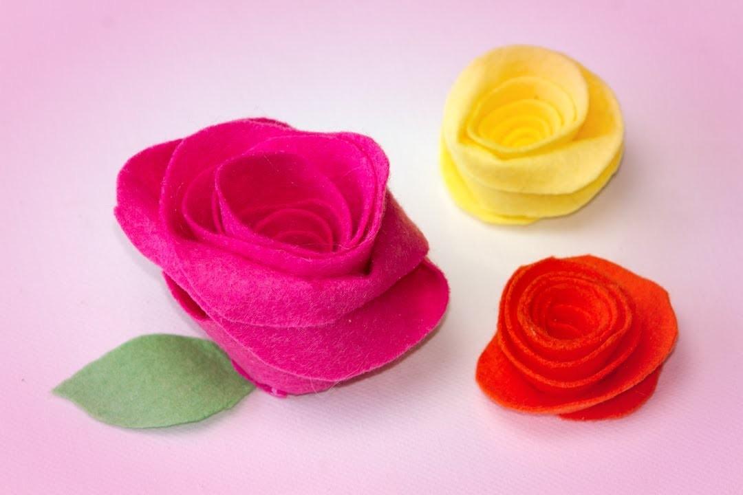 Como Hacer una Rosa de Fieltro, Manualidad de Tela