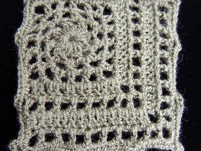 Crochet : Motivo #5. Cuadrado.  Parte 2 de 2