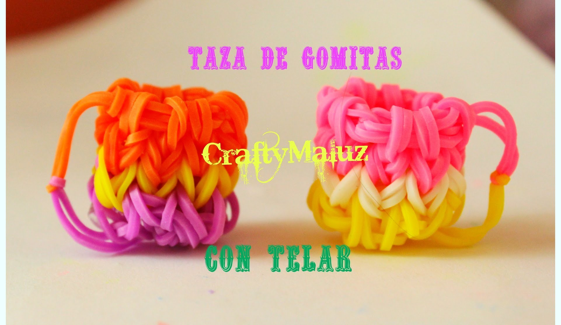 DIY: Como Hacer Taza: 3D de gomitas o ligas (con telar) Rainbow Loom Charms: 3D CUP